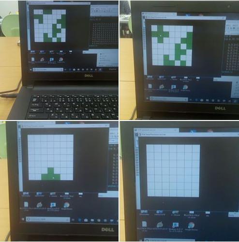 HSPでライツアウトをプログラミング、中学生も高校生もはまる生徒が続出。オーソドックスで単純なパズルゲームながら面白い。
